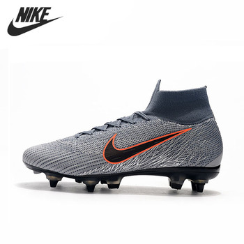 NIKE Mercurial Superfly VI Vapor VII Elite SG AC39-45 Football Shoes Sports Flyknit Grey Orange Sneakers Men Soccer Cleats Boots