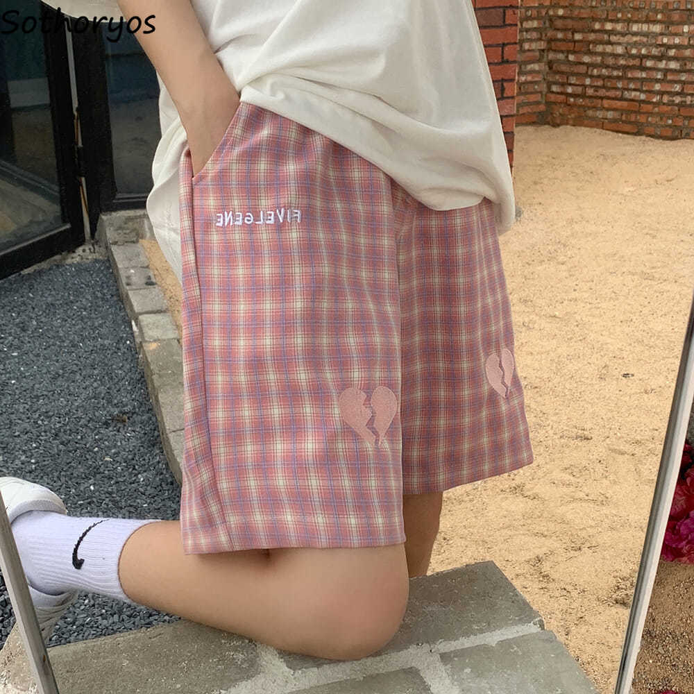 Women Sleep Bottoms Plaid Simple Classic Knee Length Embroidery Teens Hipsters Retro Cozy Sleepwear Casual Lovely Japan Style