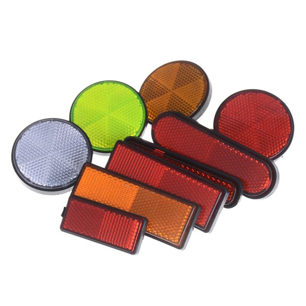 2Pcs Universal Rectangle Round Car Motorcycle Bike Caravans Lorry Screw On Safety Reflector Reflective Sticker Vehicle Accessori