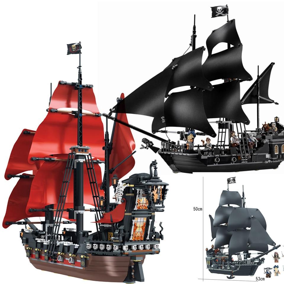The Black Pearl Ship Compatible Lepining Pirates Ships 4184 4195 Caribbean Model Building Blocks Boys Christmas Gift Kids Toys