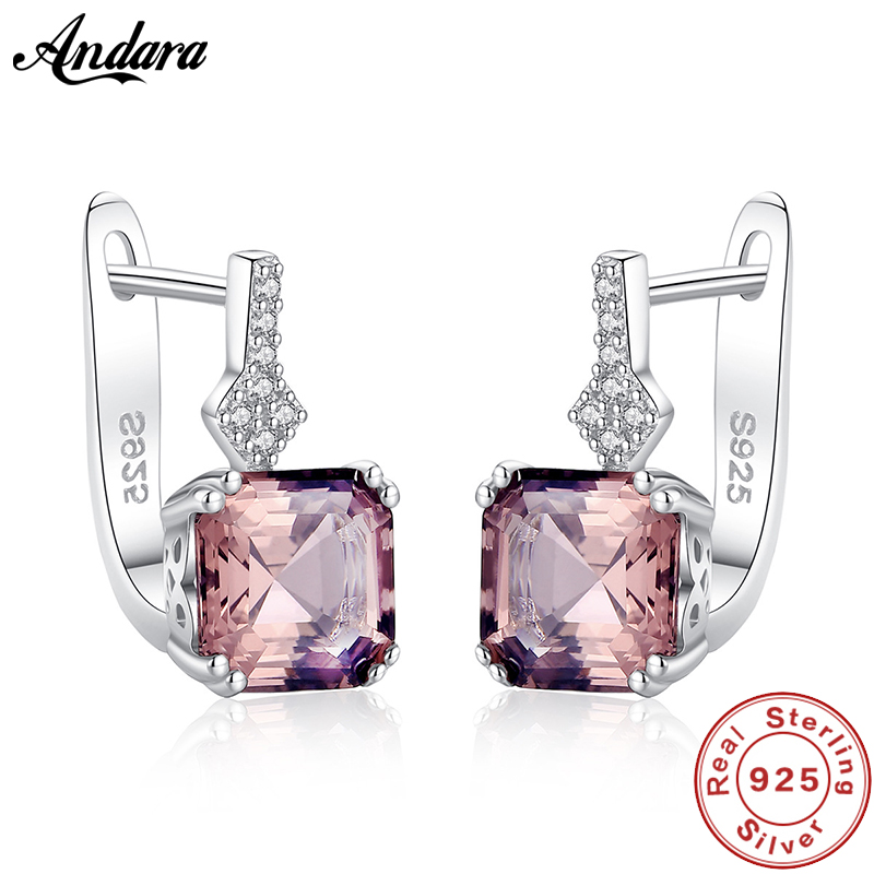 New Fashion 100% 925 Sterling Silver Earrings Pink Gem Stud Earrings For Women Wedding Engagement Fine Jewelry image