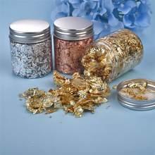 Confettis de remplissage, 1 bouteille, flocons de feuilles d'or, or argent, pour bricolage, résine époxy, artisanat, Nail Art, feuille de papier, fabrication de bijoux