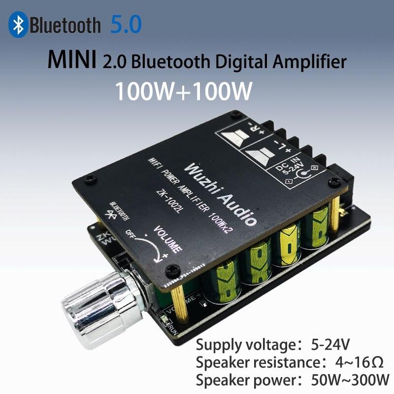 ZK-1002L 100WX2 Мини Bluetooth 5,0 Беспроводная аудио Мощность Цифровой усилитель плата стерео усилитель DC 12V 24V