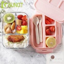 GUNOT szkło pojemnik na Lunch do mikrofalówki Bento Box pokrywa z żelu krzemionkowego przedziały szczelne do przechowywania żywności pojemnik na żywność z przekąskami w Pudełka śniadaniowe od Dom i ogród na
