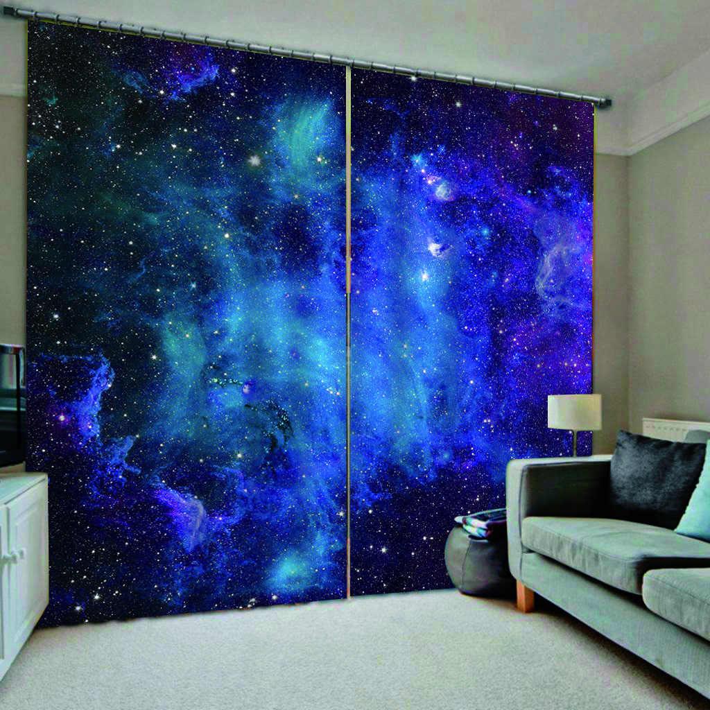 כחול שמיים וילונות כוכב 3D וילונות סלון חדר שינה וילונות Cortinas מותאם אישית גודל Blackout וילון