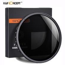 K & f concept ND2-400 nd filter 37/40.5/43/46/49/52/55/62/67/72/77mm densidade neutra ajustável fader filtro de lente variável da câmera