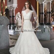 free shipping vestido de noiva casamento 2018 new fashion long vintage lace cap sleeve bridal gown