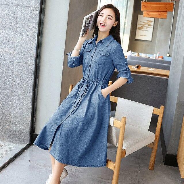 AYUNSUE Woman Dress 2020 Spring Summer Denim Dress Elegant Slim Jurken Long Sleeve Shirt Dresses For Women Vestiti Donna KJ094 3