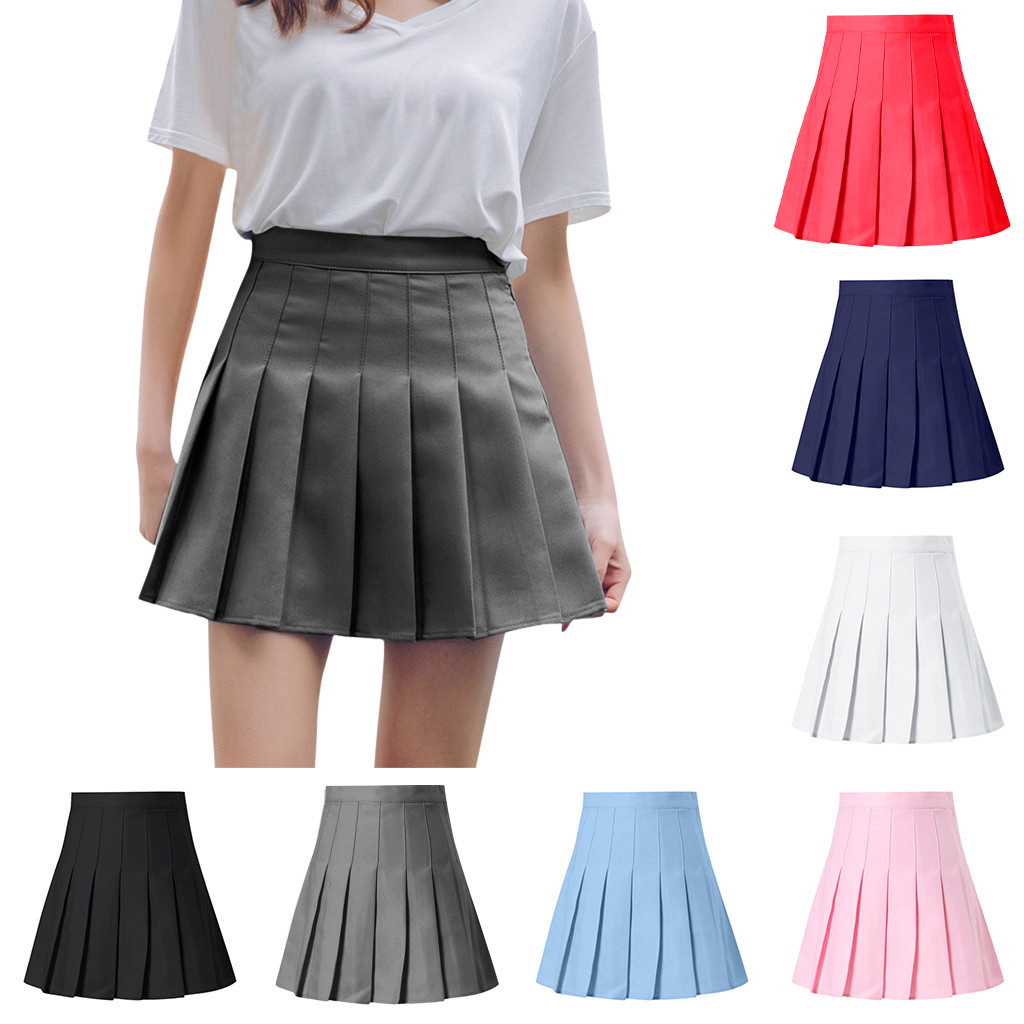 Pleated Satin Skirt Summer High Waist Pleated Mini Skirt Women's Fashion Slim Waist Casual Tennis Skirts School Vacation