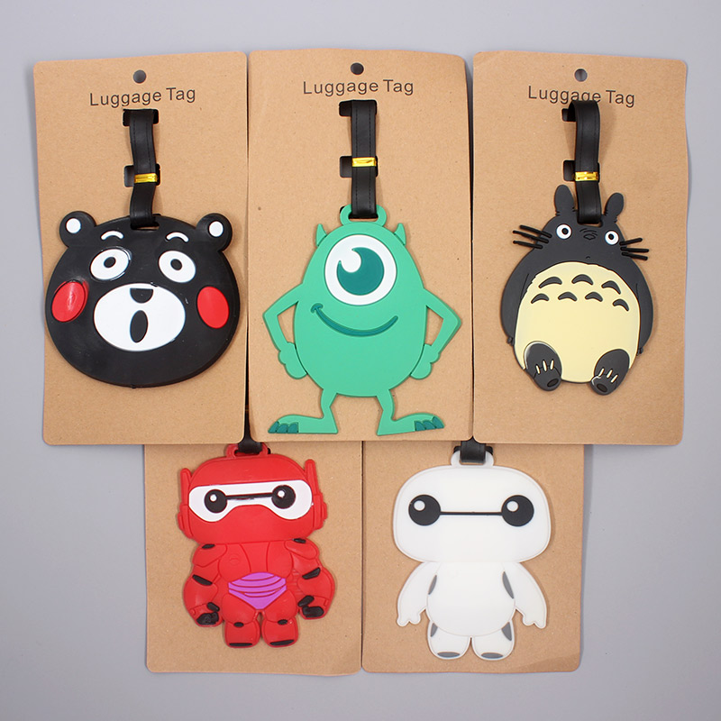 Cartoon Mike Totoro Animal Luggage Tag Travel Accessories Silicone Suitcase ID Addres Holder Baggage Boarding Tag Portable Label