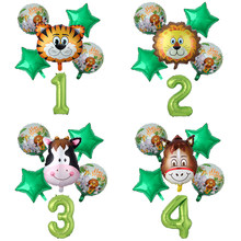 6 teile/los Dschungel Tier Luftballons Tiger Lion Kuh Esel Helium Ballon Kinder Geburtstag Party Decor Safari Zoo Thema Party globos(China)
