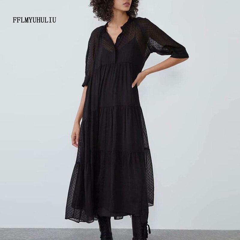Venda quente vestido longo feminino gola gola sólida polka dot vestido meia manga chiffon solto vestido casual