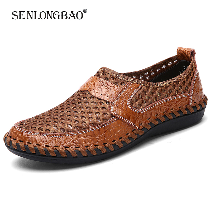 Brand New Summer Men Casual shoes Breathable Mesh cloth Loafers Soft Flats Sandals Handmade Male Driving shoes Large size 38-50