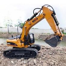 HUINA Big RC Hydraulic Excavator Car Toys 23 Channel Construction Remote Control Truck Autos Remote Excavator Engineer Truck Car