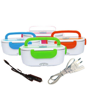 Electric Heated Lunch Box Portable Rice Cooker Car& Home Bento Boxes Stainless Steel Food Container Heated Container Food Warmer