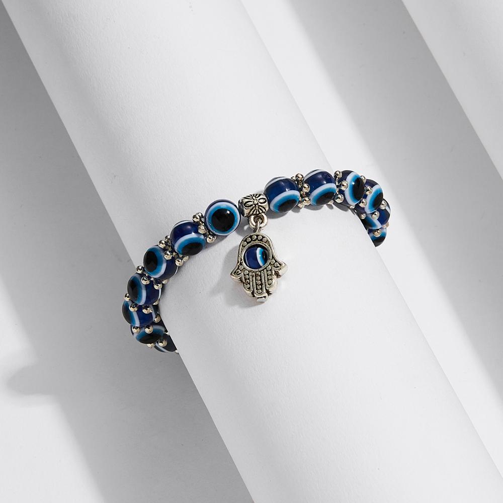 Турецкий синий злой глаз красная низка на удачу регулируемый браслет для женщин синий Фатима руки желая стеклянная бусина ручной работы браслет