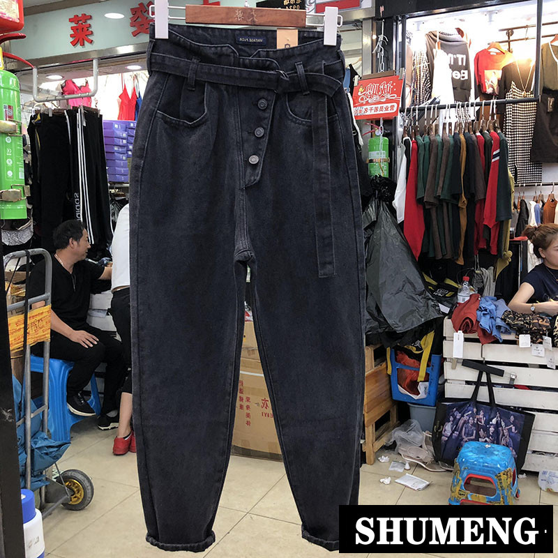 New Spring And Autumn Women Clothes Big Size High Waist Black Jeans Pants Bf Loose Radish Denim Trousers
