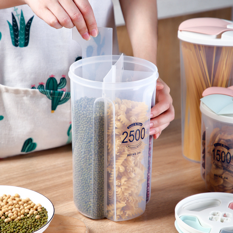 Plastic Storage Box Cereals Grains Sealed Can Kitchen Classified Jars 1500ml 2500ml Removable Compartment Organizer <font><b>Container</b></font> image