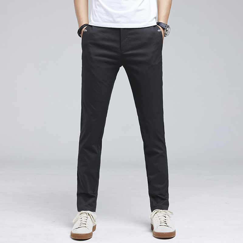 Spring Casual Pants Men's Slim Fit Pants Suit Pants Korean-style Trend Men Straight-Cut Spring Elasticity MEN'S Trousers 1059