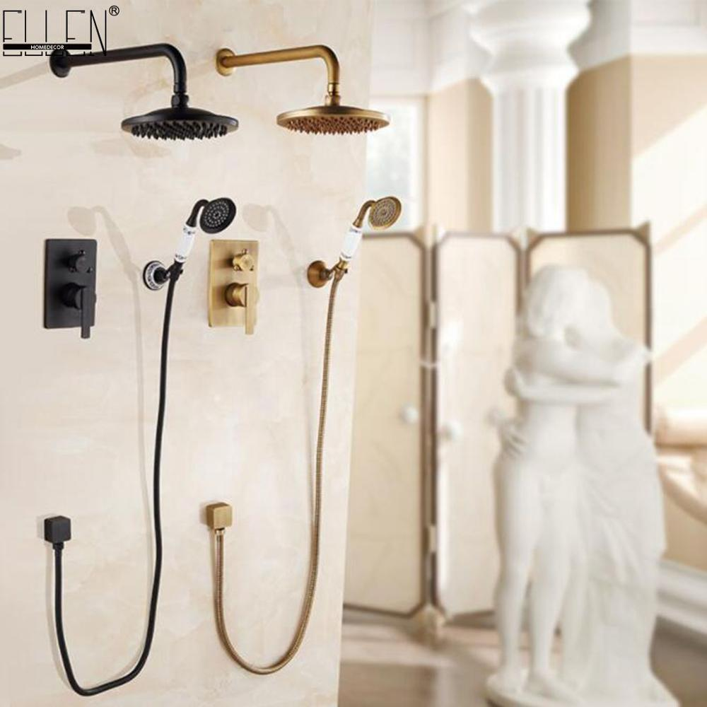 Ellen Wall Shower Set Bath Shower System Antique Bronze Rain Waterfall  In-wall Bath Shower Hot And Cold ELS10