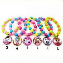 1 шт(18 дизайнов) популярный мультяшный кукольный стеклянный шарм браслеты из бисера браслет подарок на день рождения для девочек