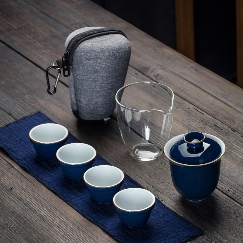 Travel Bag Chinese Kung Fu Teaset Gaiwan Teapot Teacups Fair Mug Tea Sets White Travel Tea Set Drinkware Free Shipping
