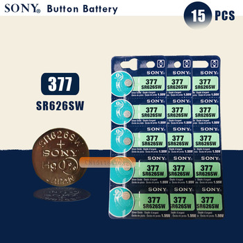 15 sztuk nowy SONY 100 oryginalny 377 SR626SW 626 SR626 V377 AG4 zegarek bateria guzikowa ogniwo monety wykonane w japonii tanie i dobre opinie 24mAh 1 55V 6 8x2 6mm Tlenek srebra SR626SW 377