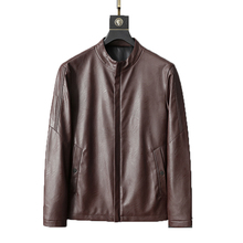 купить 2019 Men Autumn Winter Pu Leather Punk Jacket Coat Mens Stand-up Collar Leather Jacket Fashion Motorcycle Leather Male Outerwear дешево