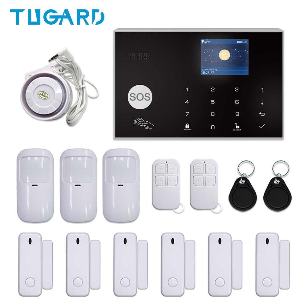 Tuya GSM 3G 4G <font><b>WIFI</b></font> Home Security <font><b>Burglar</b></font> <font><b>Alarm</b></font> System Wireless 433MHz 11 Languages Support Android&iOS APP Remote Control image