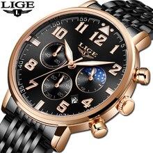 лучшая цена Relogio Masculino LIGE New Business Stainless Steel Quartz Watch Men Multifunction Dial Sport Men Watches Moon Phase Chronograph