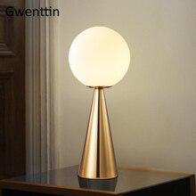 Современные стеклянные шариковые настольные лампы для спальни, гостиной, прикроватная лампа, скандинавский учебный светодиодный настольный светильник, промышленные светильники для домашнего декора