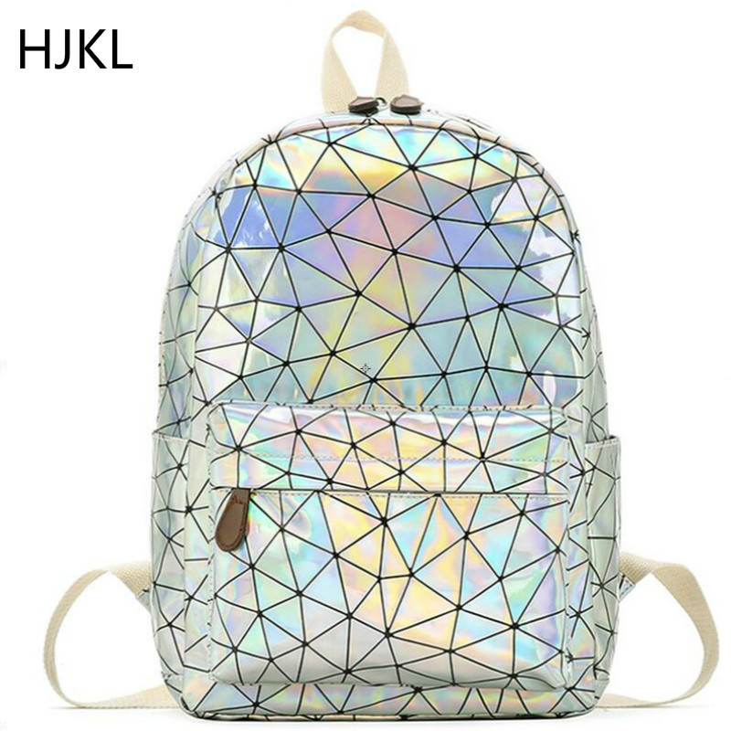 Laser Backpacks Holographic Travel School Bags Male Female High Quality PU Leather Large Capacity Fashion Luxury Style Girl Bag