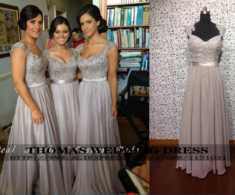 WV-508 Sexy V Neck With Cap Sleeve See Through Back Purple Chiffon A-line Bridesmaid Dresses Custom-made Real Pictures