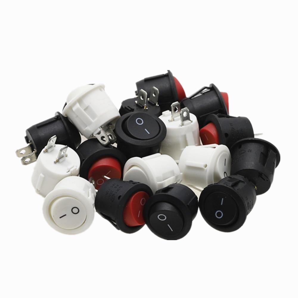 6 шт., диаметром 20 мм, Φ, черный, мини, Круглый, черный, белый, красный, 2-контактный ВКЛ./ВЫКЛ. Клавишный переключатель