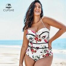 بدلة سباحة من CUPSHE بمقاسات كبيرة بيضاء مزهّرة برقبة على شكل حرف v ملابس سباحة من قطعة واحدة بدلة سباحة كبيرة مثيرة للنساء مونوكيني للسباحة 2020 ملابس شاطئ