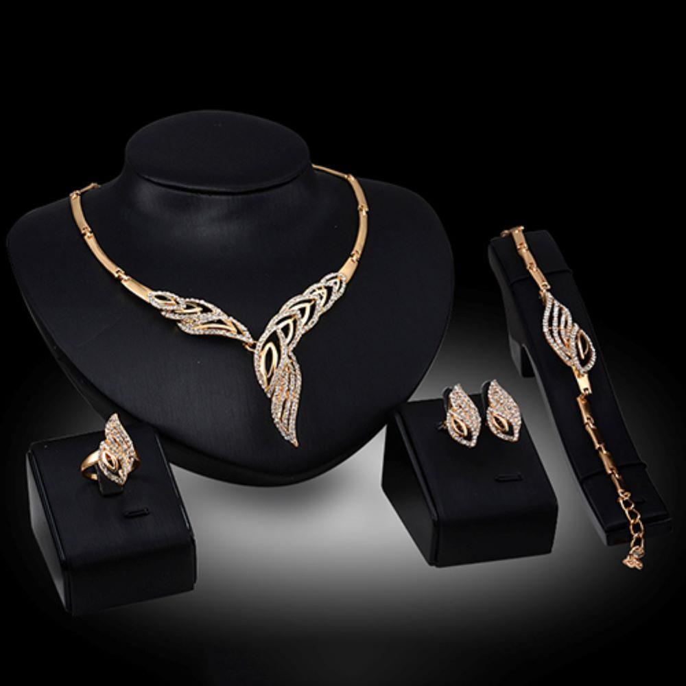Wedding Bridal Party Wavy Rhinestone Jewelry Set Choker Necklace Bracelet Ring Earrings Set Women Stainless Steel Jewelry