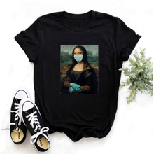 Mayos Mona Lisa Harajuku Aesthetic T-shirt Ladies Retro Ullzang Printed T-shirt 90s Cartoon Four-color Casual Top