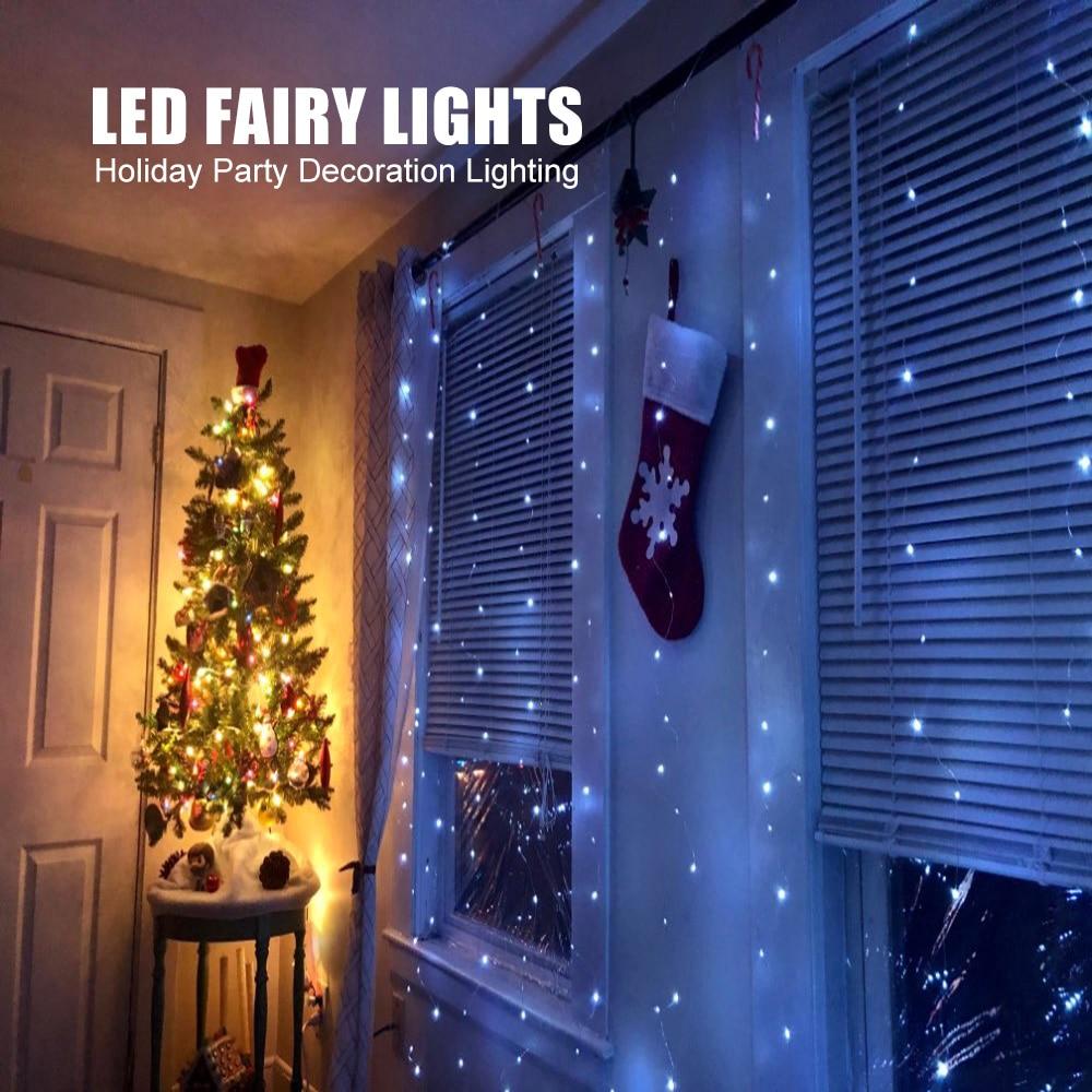 3M Led Kerst Fairy String Lights Afstandsbediening Usb Nieuwjaar Garland Gordijn Lamp Vakantie Decoratie Voor Thuis Slaapkamer venster 2
