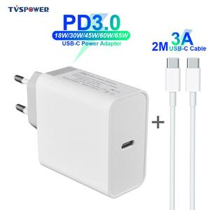 USB C адаптер питания PD/QC3.0 65 Вт/60 Вт/45 Вт/30 Вт/18 Вт 15 в TYPE-C настенное зарядное устройство для ноутбуков/MacBook/iPad/iPhone/Samsung (кабель для C-C 2) М)
