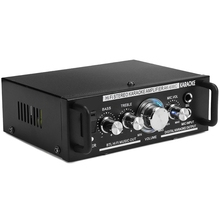 12V/220V 600W 2 Mic Stereo Speaker Mini Car Home Bass Power Amplifier HiFi MP3 Booster AK-698C EU Plug mesa boogie m6 carbine bass amplifier 600w 2 rack