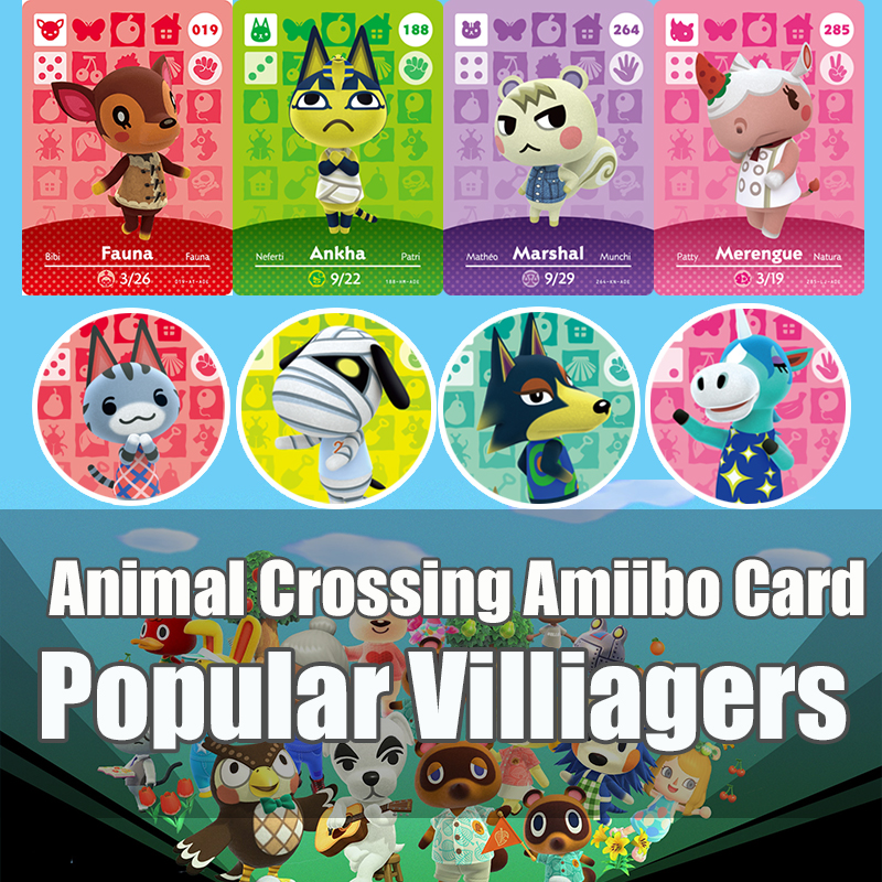 Hot Villager Animal Crossing New Horizons Game Card Amiibo Card For NS Switch 3DS Game Set NFC Cards Marshal Ankha Drop Shipping