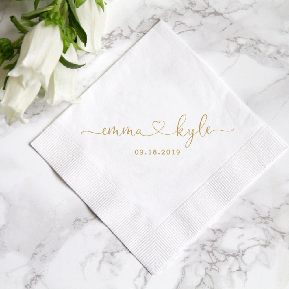 100 Personalized Heart Wedding Paper Napkins Custom Mr  amp  Mrs Cocktail Beverage Paper Serviette Bridal shower Table Decor Napkins