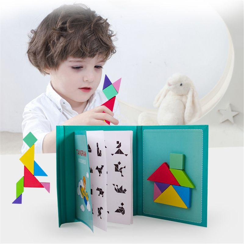96 Puzzles Magnetic Tangram Kids Toys  Montessori Educational Magic Book Suit 96 Puzzles Magnetic Tangram