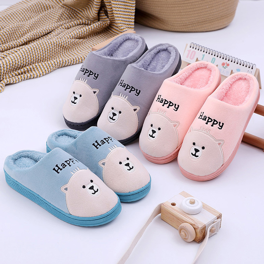 Shoes Slipper Womens Men Home Indoor Slippers House Shoes Soft Plush Girls Flats Shoes Slippers Winter Female Warm Bedroom