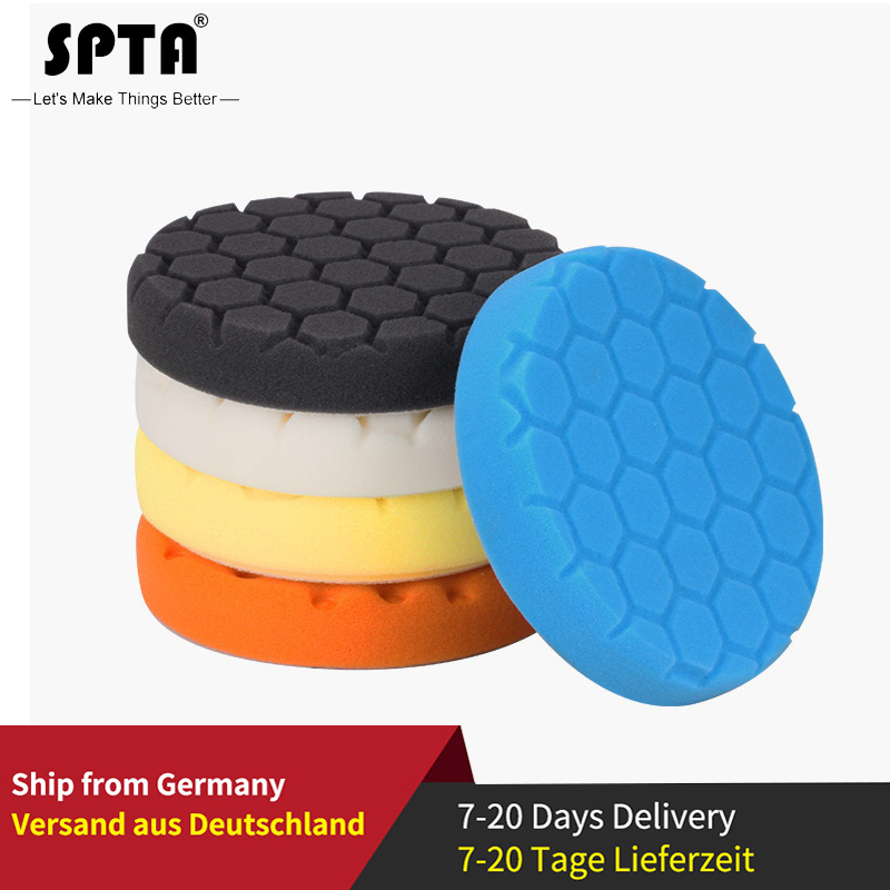 "SPTA 4""(100mm)/5""(125mm)/6""(150mm)/7""(180mm) Hex-Logic Cut Polishing Pads & Buffing Pads For RO/DA/GA Dual Action Car Polisher"