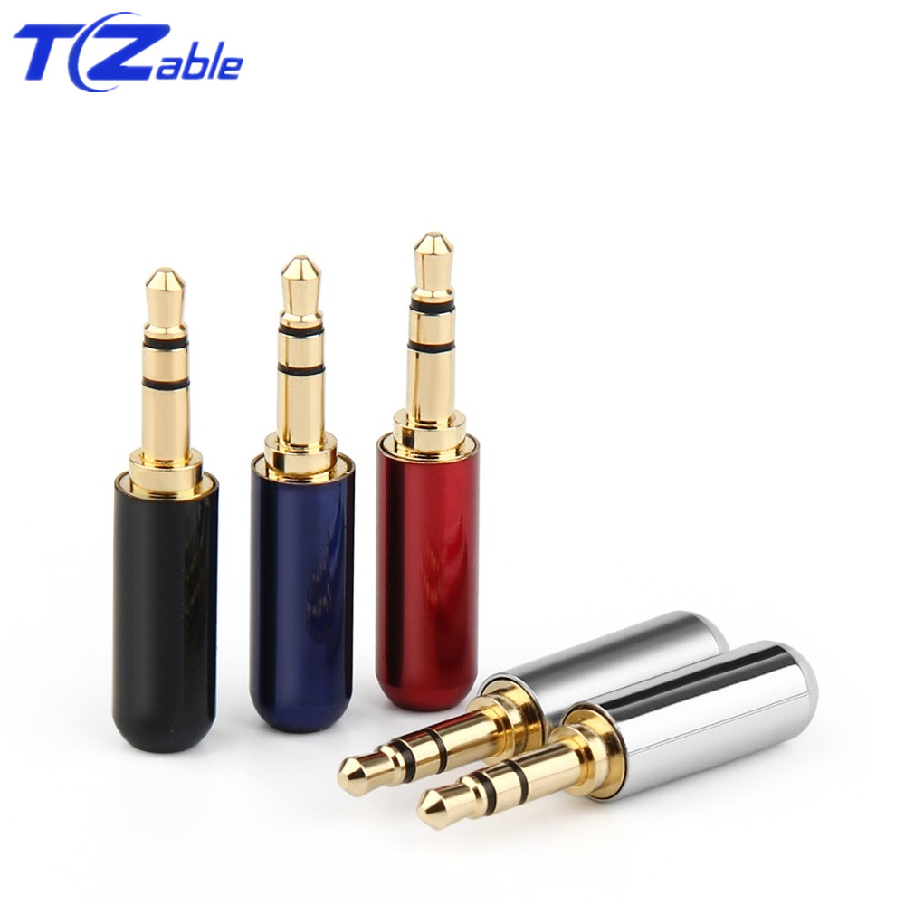 Audio Jack 3.5mm Audio Connector 3/4 Poles Headphone Jack Hifi  Male Plug Earphone Repair Cable Solder Wire AUX 3.5 Jack Adapter