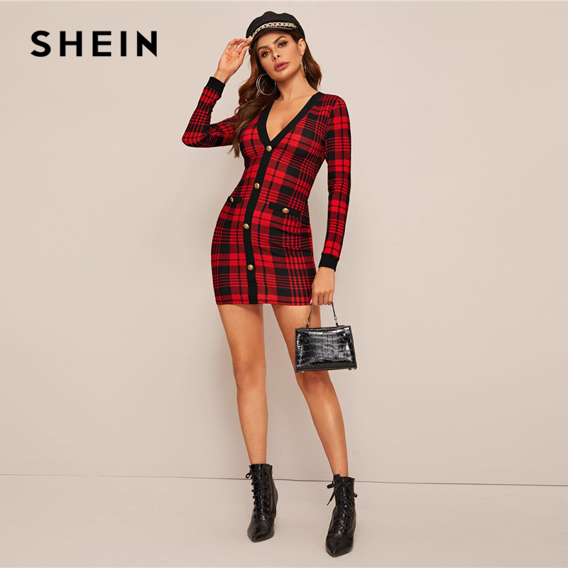 SHEIN Red Button Front Plaid Bodycon Dress Women Spring V neck Elegant Slim Fitted Office Ladies Pencil Mini Dresses 1