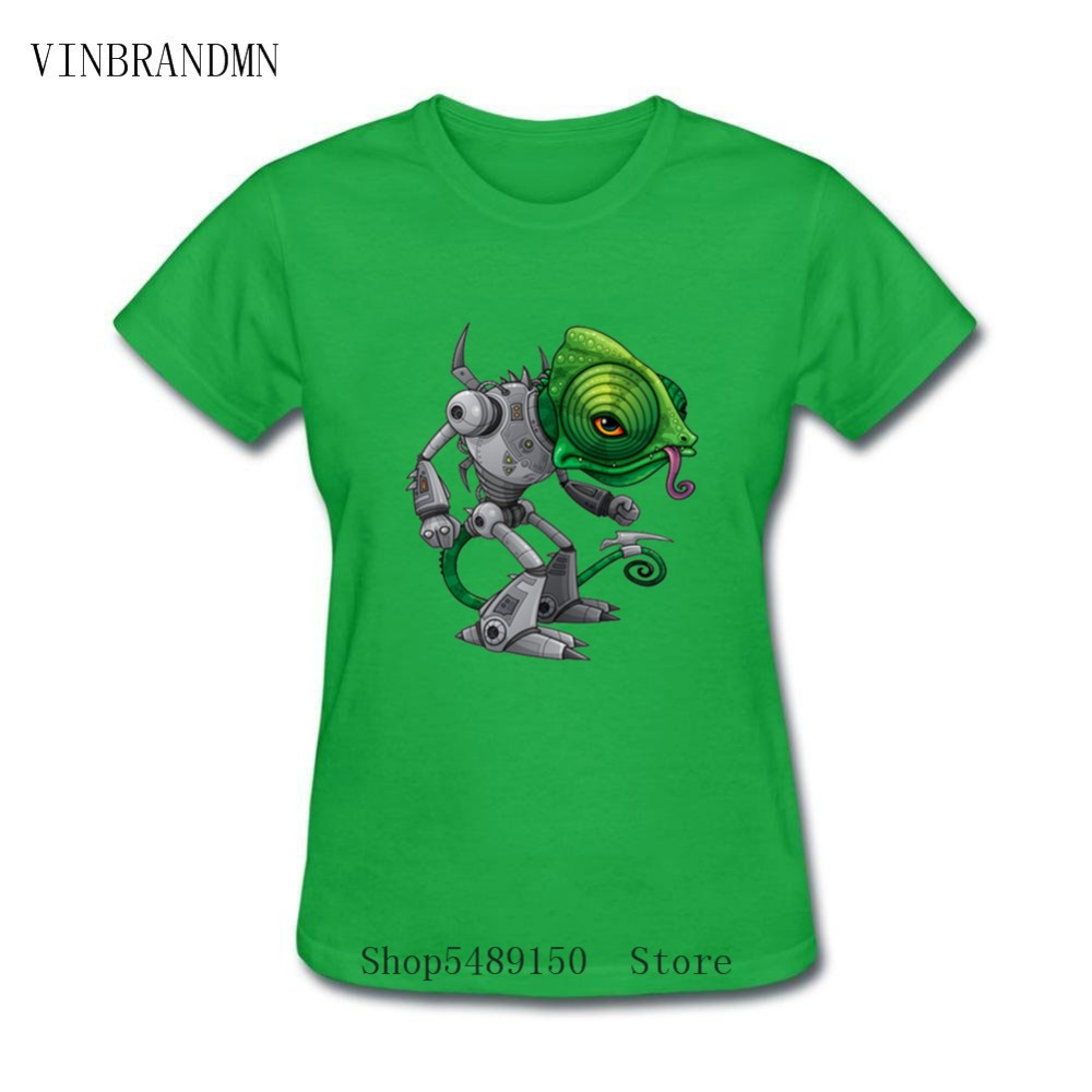Chameleozoid Fun Gift Tees New Fashion Animal Brand High Quality Printed Women's T-Shirt Steampunk Chameleon Lizard Robot Tshirt