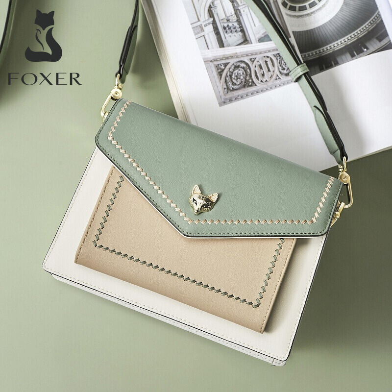 FOXER Brand Women Leather Crossbody Bag Lady Colorful Panelled Flaps New Special Design Shoulder Bag Small Purse Tote For Female