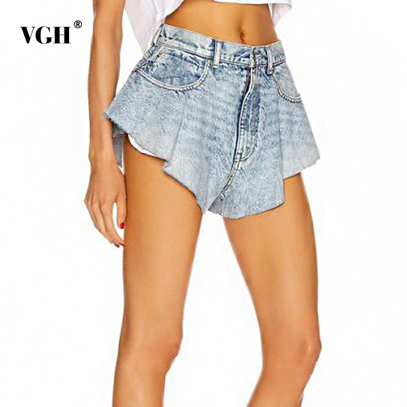 VGH Sexy Loose Denim Women Shorts Skirts High Waist Ruched Mini Evening Party Short Jeans For Female Fashion Clothing 2020 Tide